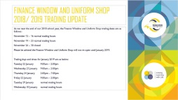 Finance Window and Uniform Shop 2018-2019 Trading Update
